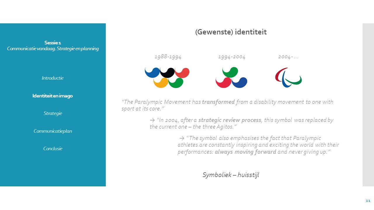 Sessie 1 Communicatie vandaag. Strategie en planning Introductie Identiteit en imago Strategie Communicatieplan Conclusie (Gewenste) identiteit 1988-1