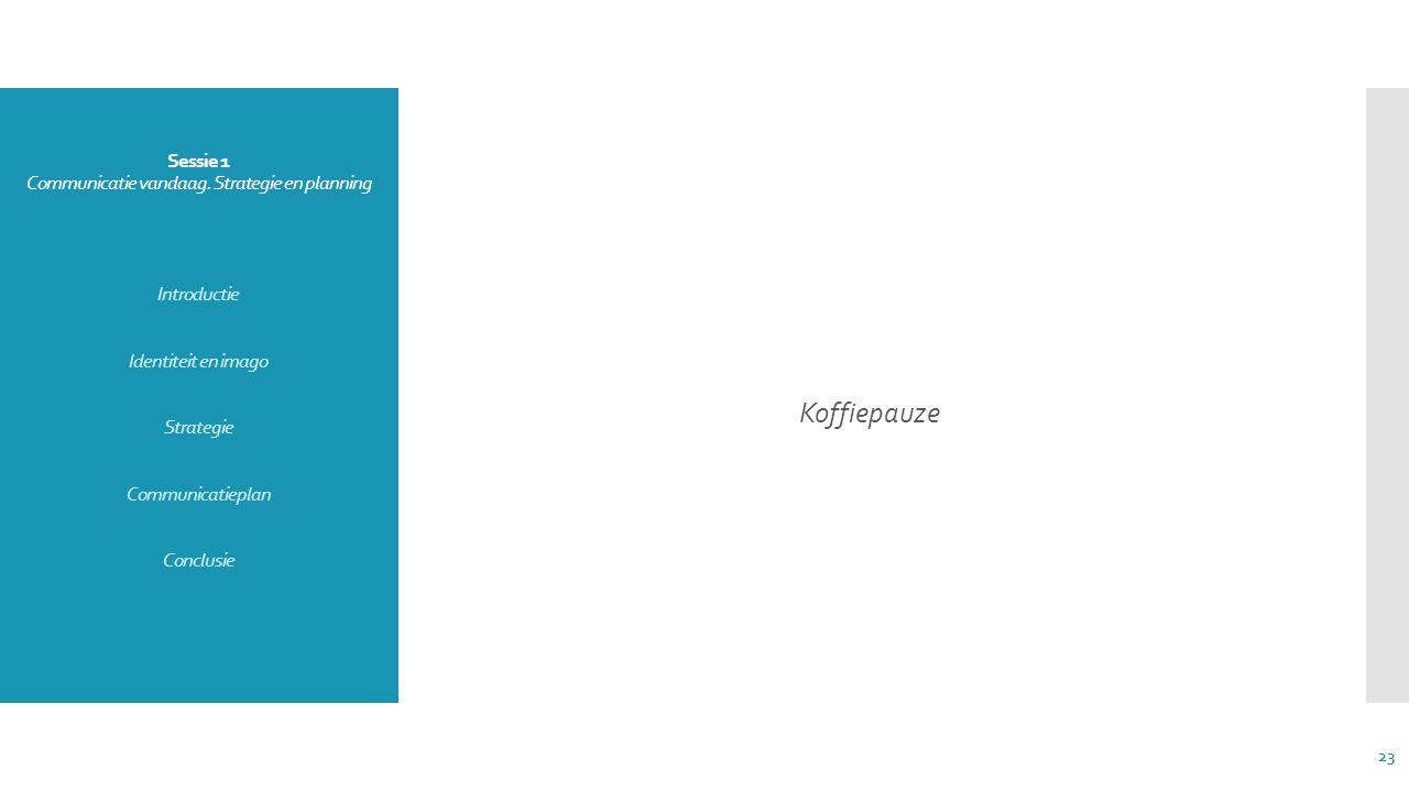 Sessie 1 Communicatie vandaag. Strategie en planning Introductie Identiteit en imago Strategie Communicatieplan Conclusie Koffiepauze 23