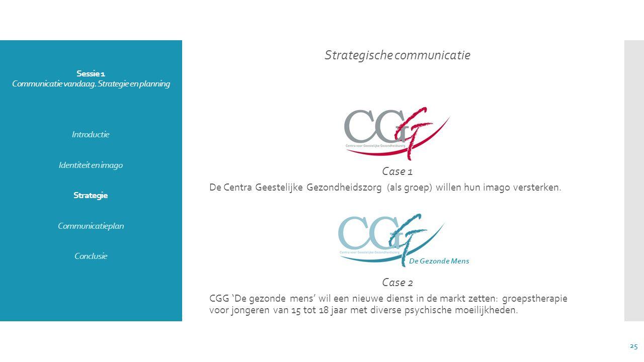 Sessie 1 Communicatie vandaag. Strategie en planning Introductie Identiteit en imago Strategie Communicatieplan Conclusie Strategische communicatie Ca