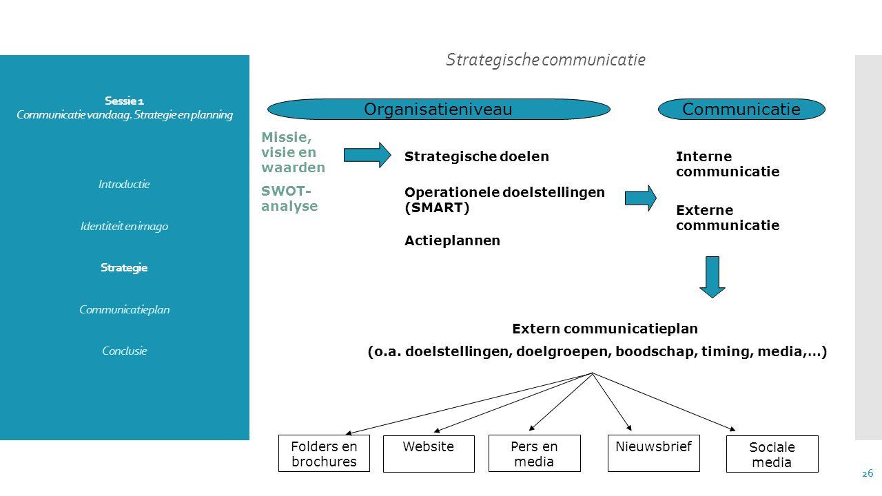 Sessie 1 Communicatie vandaag. Strategie en planning Introductie Identiteit en imago Strategie Communicatieplan Conclusie Strategische communicatie 26