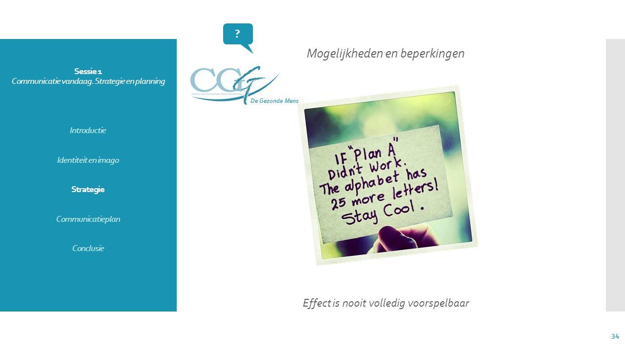 Sessie 1 Communicatie vandaag. Strategie en planning Introductie Identiteit en imago Strategie Communicatieplan Conclusie Mogelijkheden en beperkingen