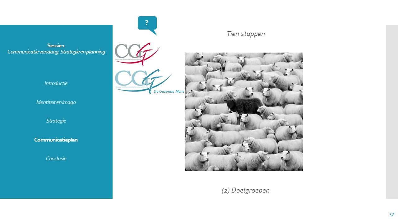 Sessie 1 Communicatie vandaag. Strategie en planning Introductie Identiteit en imago Strategie Communicatieplan Conclusie Tien stappen (2) Doelgroepen