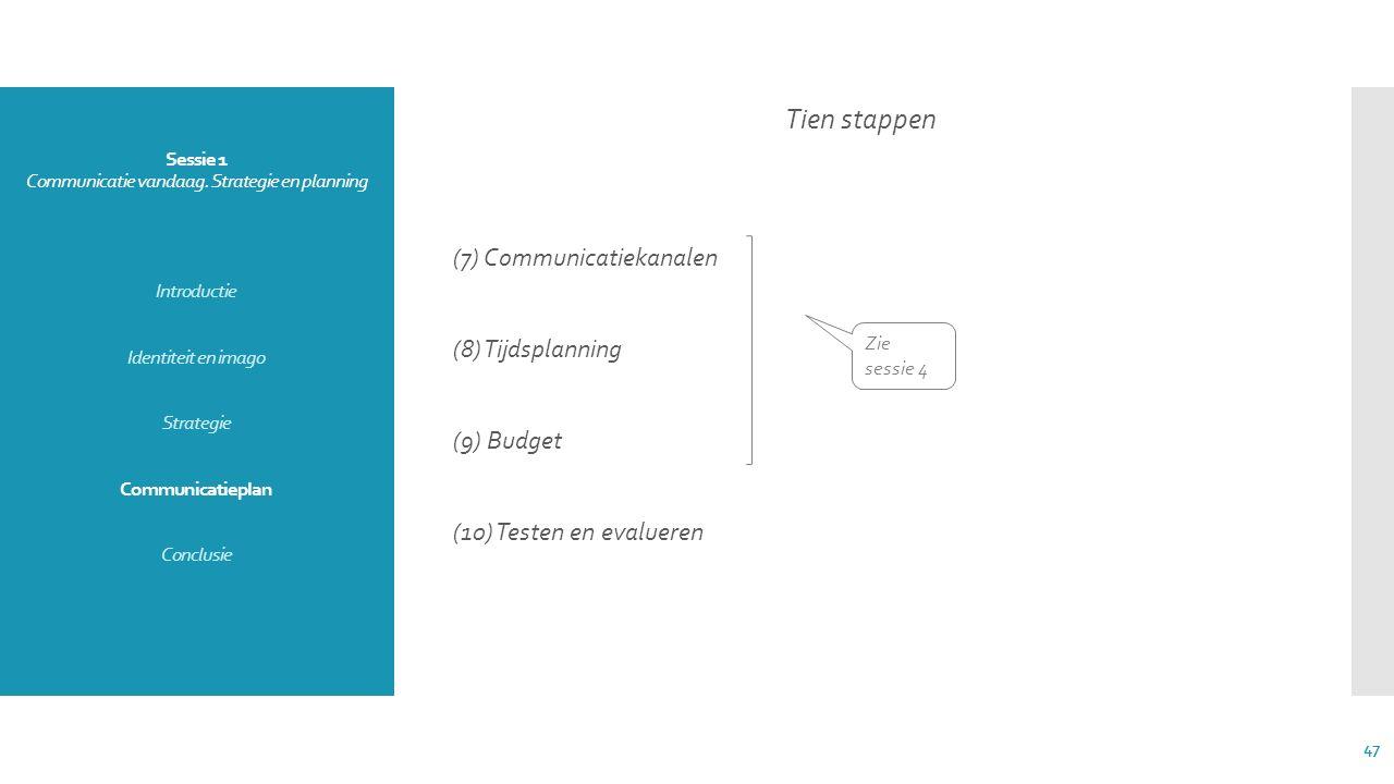Sessie 1 Communicatie vandaag. Strategie en planning Introductie Identiteit en imago Strategie Communicatieplan Conclusie Tien stappen (7) Communicati