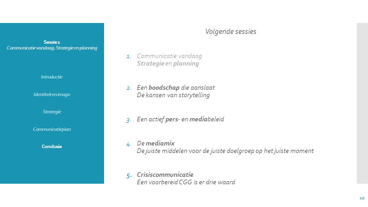 Sessie 1 Communicatie vandaag. Strategie en planning Introductie Identiteit en imago Strategie Communicatieplan Conclusie Volgende sessies 1.Communica