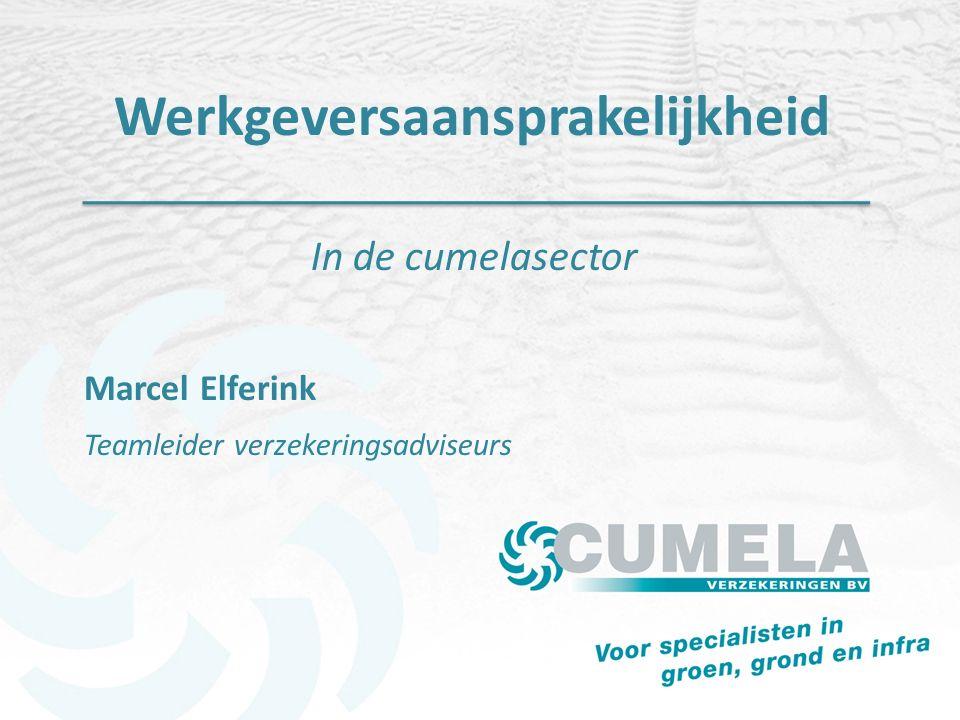 Werkgeversaansprakelijkheid In de cumelasector Marcel Elferink Teamleider verzekeringsadviseurs