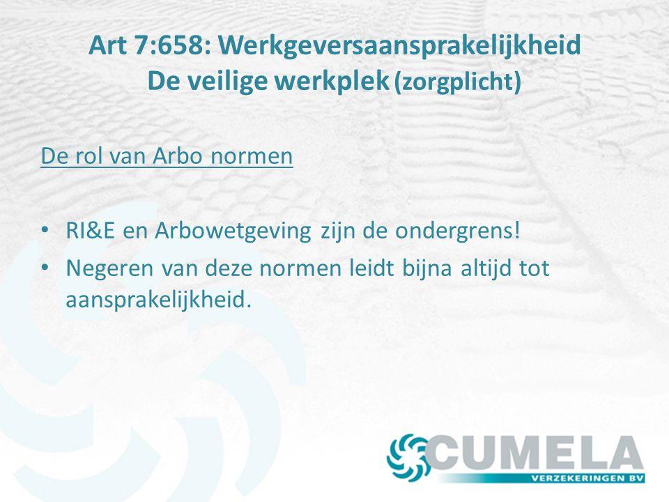 Art 7:658: Werkgeversaansprakelijkheid De veilige werkplek (zorgplicht) De rol van Arbo normen RI&E en Arbowetgeving zijn de ondergrens.