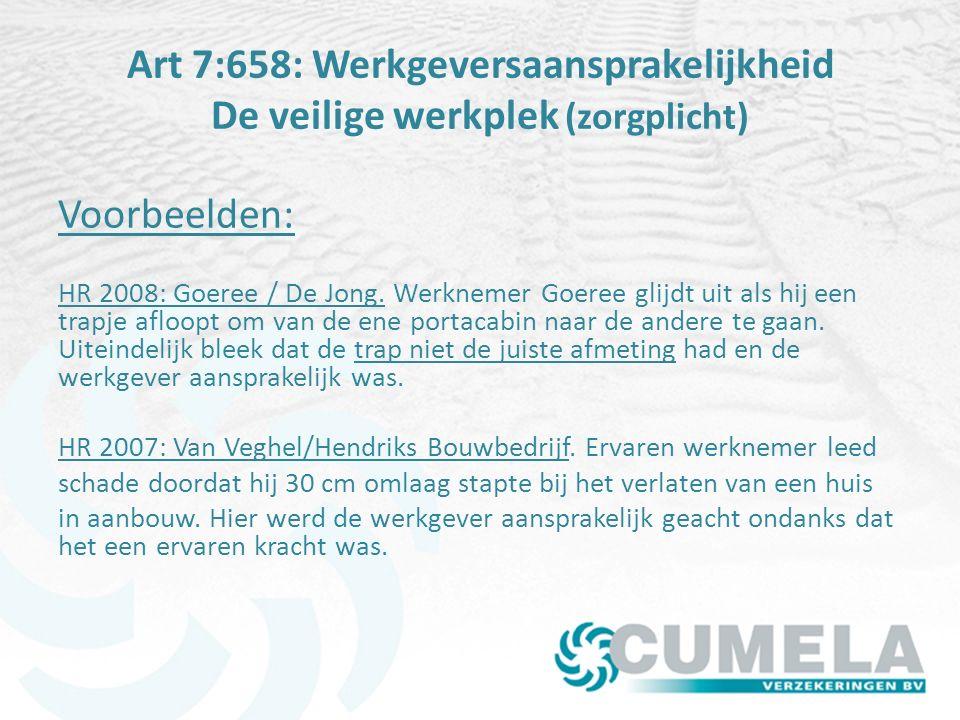 Art 7:658: Werkgeversaansprakelijkheid De veilige werkplek (zorgplicht) Voorbeelden: HR 2008: Goeree / De Jong.