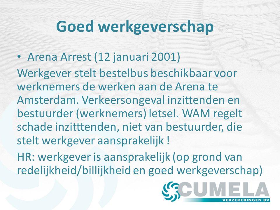 Goed werkgeverschap Arena Arrest (12 januari 2001) Werkgever stelt bestelbus beschikbaar voor werknemers de werken aan de Arena te Amsterdam.