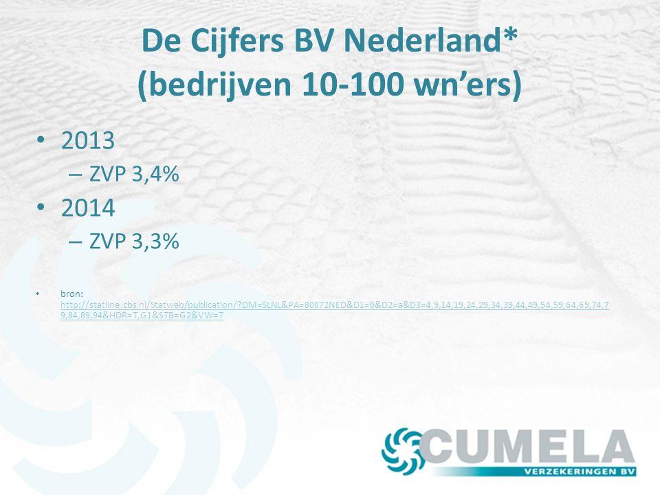 De Cijfers BV Nederland* (bedrijven 10-100 wn'ers) 2013 – ZVP 3,4% 2014 – ZVP 3,3% bron: http://statline.cbs.nl/Statweb/publication/?DM=SLNL&PA=80072NED&D1=0&D2=a&D3=4,9,14,19,24,29,34,39,44,49,54,59,64,69,74,7 9,84,89,94&HDR=T,G1&STB=G2&VW=T http://statline.cbs.nl/Statweb/publication/?DM=SLNL&PA=80072NED&D1=0&D2=a&D3=4,9,14,19,24,29,34,39,44,49,54,59,64,69,74,7 9,84,89,94&HDR=T,G1&STB=G2&VW=T
