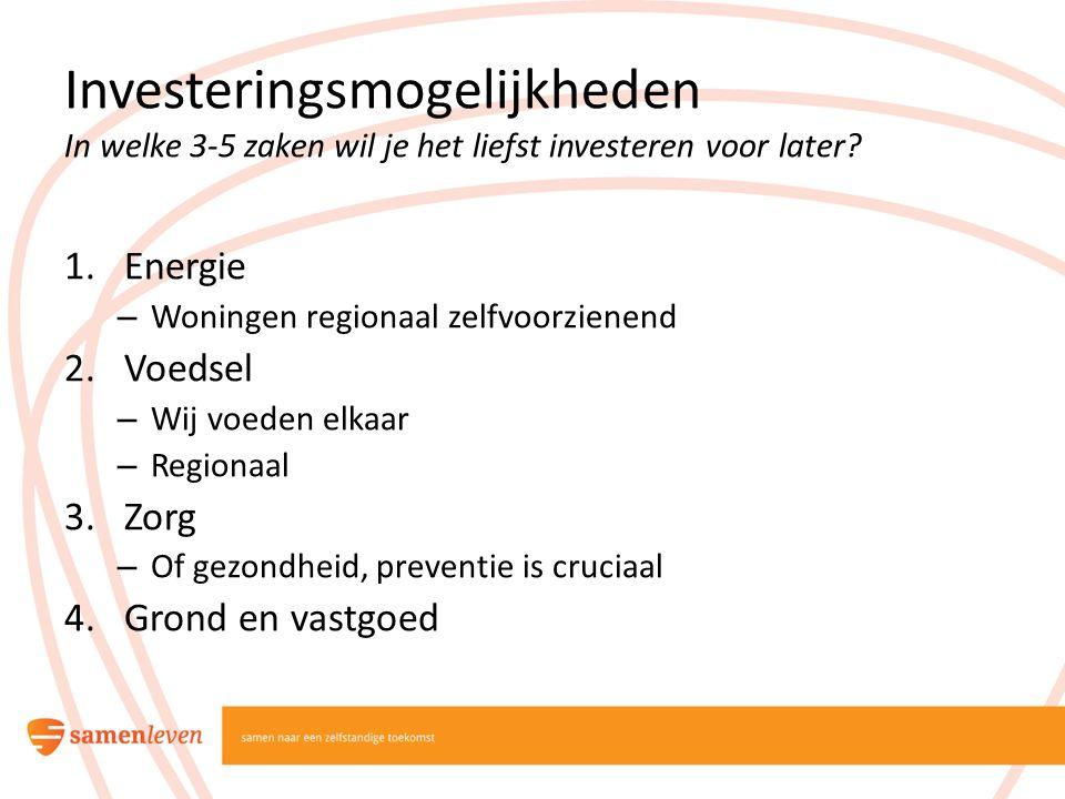 Investeringsmogelijkheden In welke 3-5 zaken wil je het liefst investeren voor later? 1.Energie – Woningen regionaal zelfvoorzienend 2.Voedsel – Wij v