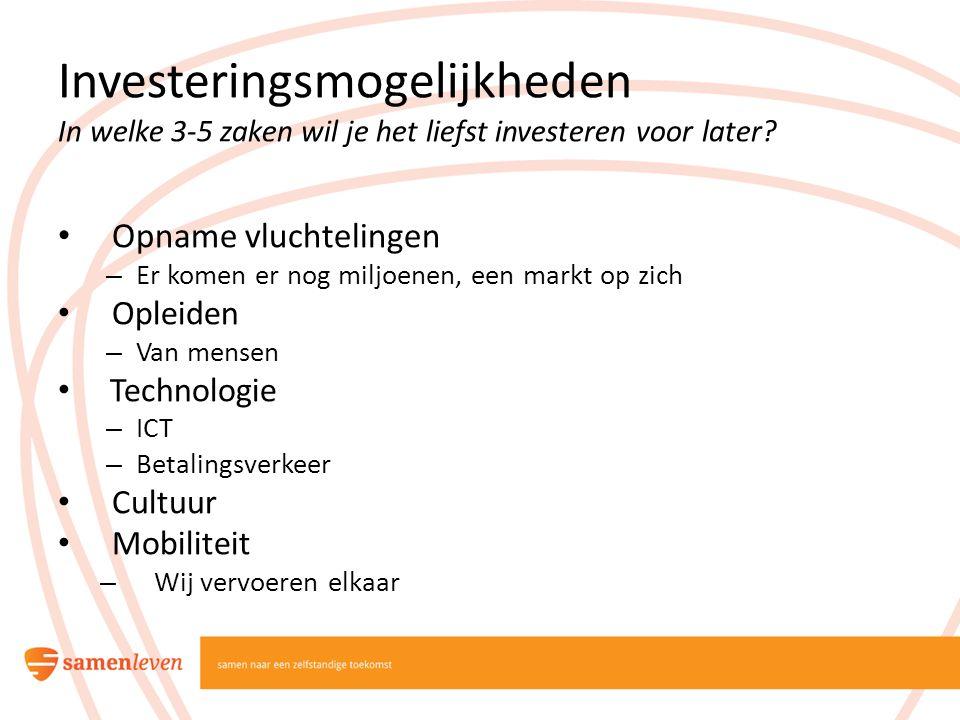 Investeringsmogelijkheden In welke 3-5 zaken wil je het liefst investeren voor later? Opname vluchtelingen – Er komen er nog miljoenen, een markt op z