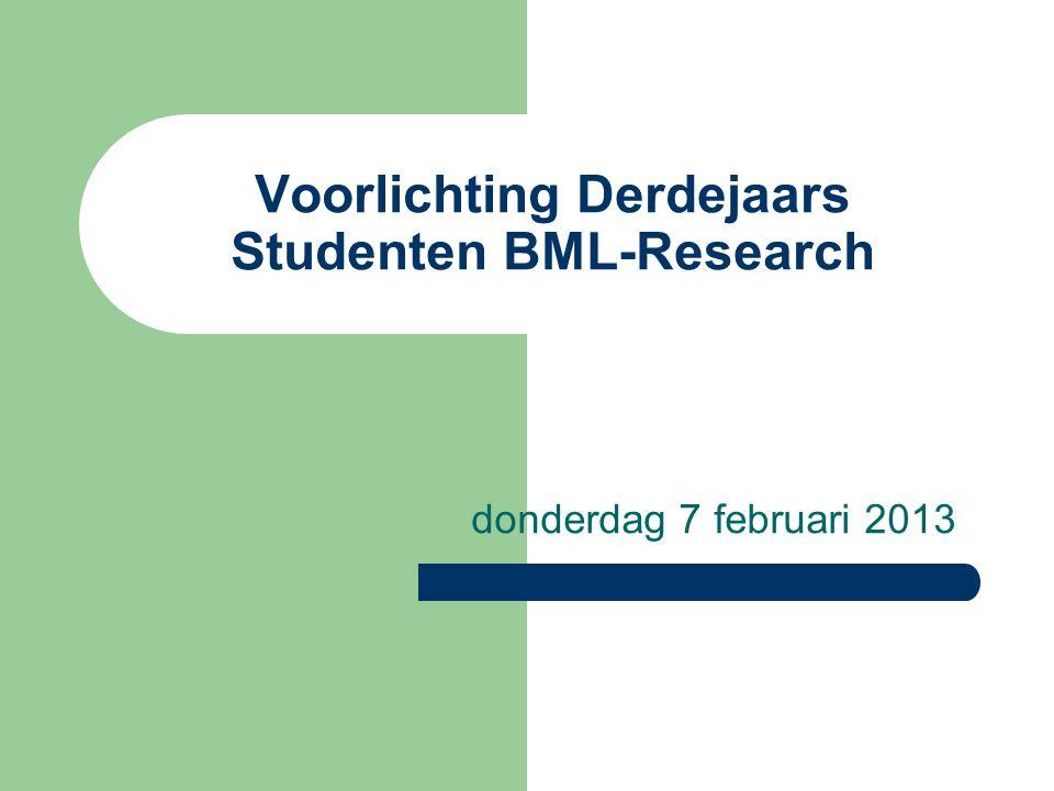 Verdiepende minoren Studenten met Opleiding (major) Biologie en Medisch Laboratoriumonderzoek kunnen kiezen voor minor - Life Science Research, of - Biochemische Research (semester 6 en 7) Zie voor cursussen van beide minoren de Hogeschoolgids EAS BML, p 80-82 Hogeschoolgids EAS BML, p 80-82 http://hint.hro.nl/PageFiles/14212/Hogeschoolgids%20bachelors%20EAS%202012-2013.pdf