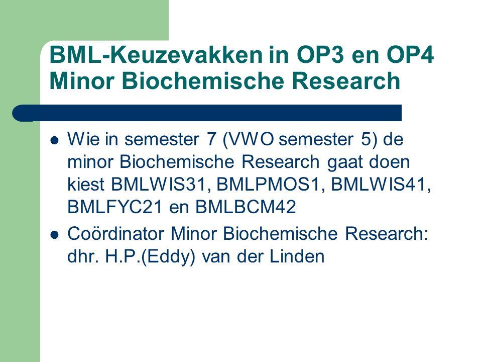 BML-Keuzevakken in OP3 en OP4 Minor Biochemische Research Wie in semester 7 (VWO semester 5) de minor Biochemische Research gaat doen kiest BMLWIS31,