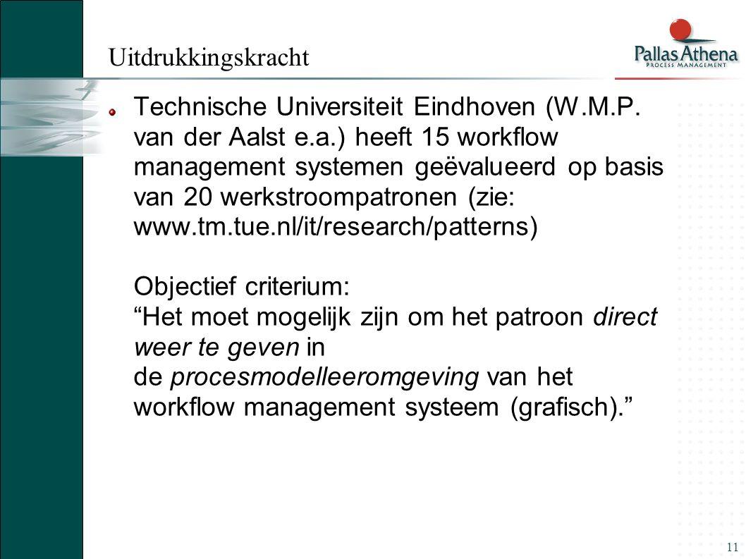 11 Uitdrukkingskracht Technische Universiteit Eindhoven (W.M.P. van der Aalst e.a.) heeft 15 workflow management systemen geëvalueerd op basis van 20