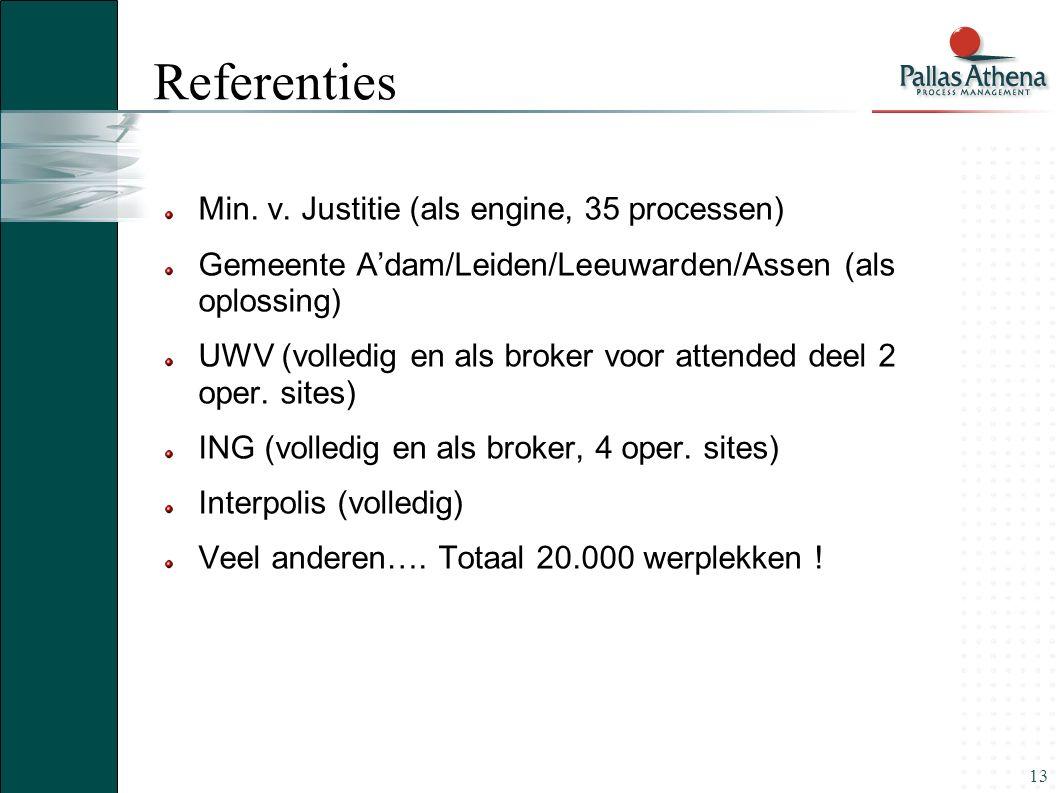 13 Referenties Min. v. Justitie (als engine, 35 processen) Gemeente A'dam/Leiden/Leeuwarden/Assen (als oplossing) UWV (volledig en als broker voor att