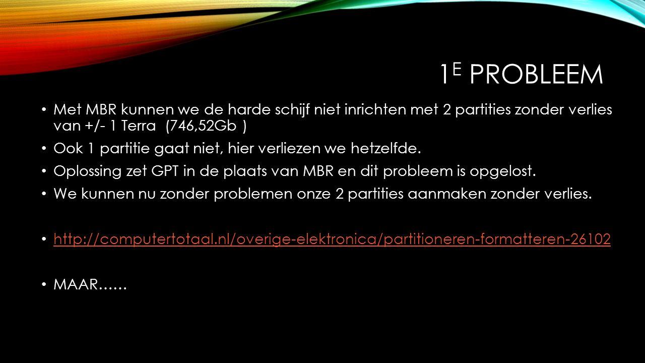 2 E PROBLEEM Harde schijf met GPT en 2 partities zit maagdelijk in onze PC met BIOS te wachten op een verse installatie van Win xx (bv 10).