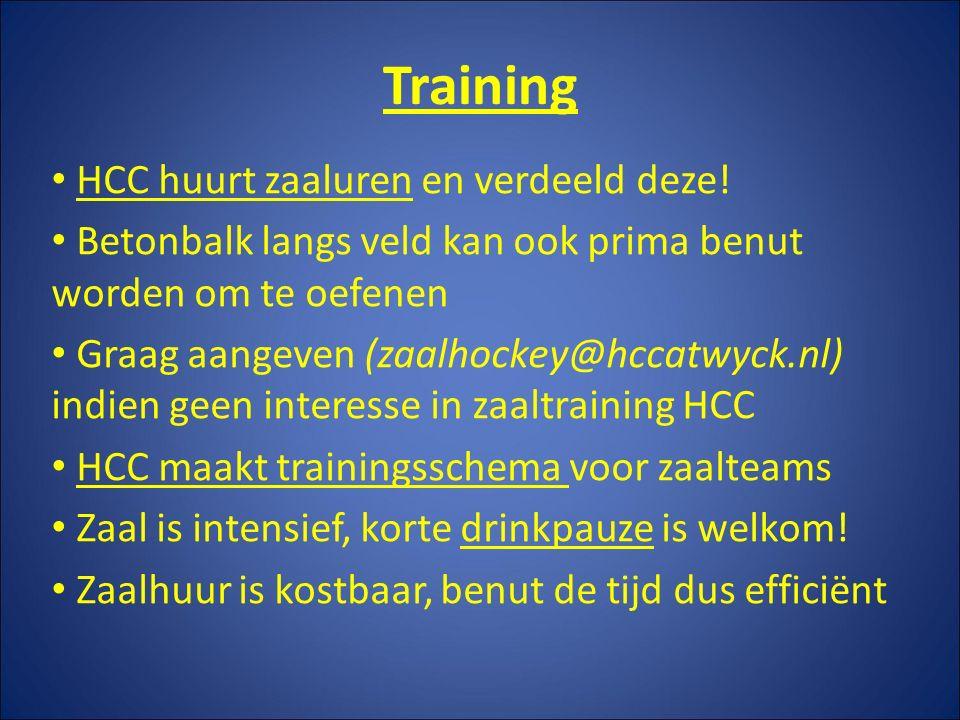 Training HCC huurt zaaluren en verdeeld deze.