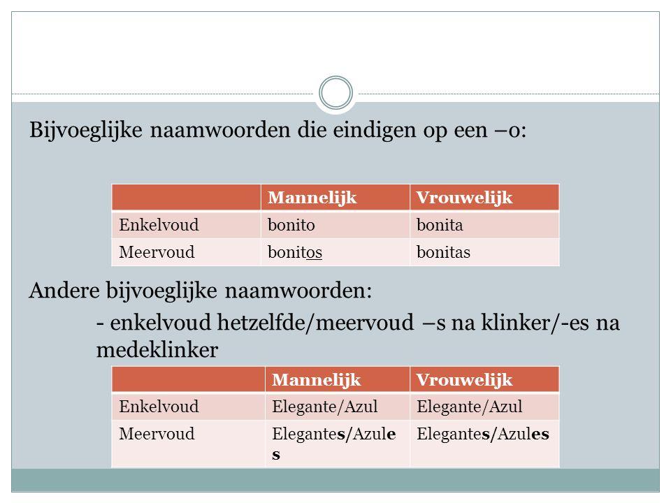 Bijvoeglijke naamwoorden die eindigen op een –o: Andere bijvoeglijke naamwoorden: - enkelvoud hetzelfde/meervoud –s na klinker/-es na medeklinker MannelijkVrouwelijk Enkelvoudbonitobonita Meervoudbonitosbonitas MannelijkVrouwelijk EnkelvoudElegante/Azul MeervoudElegantes/Azule s