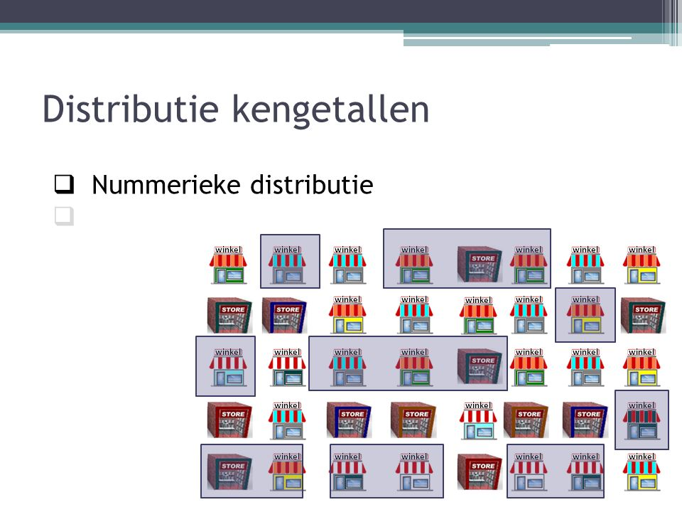 Distributie kengetallen Marktbereik 0,7 Nummerieke distributie 0,4 de selectie = = = = 1,75 indicator € 35000 € 50000 16 winkels 40 winkels