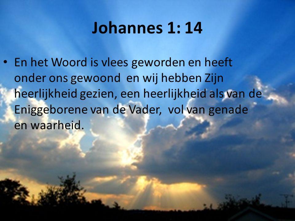 Johannes 1: 14 En het Woord is vlees geworden en heeft onder ons gewoond en wij hebben Zijn heerlijkheid gezien, een heerlijkheid als van de Eniggeborene van de Vader, vol van genade en waarheid.
