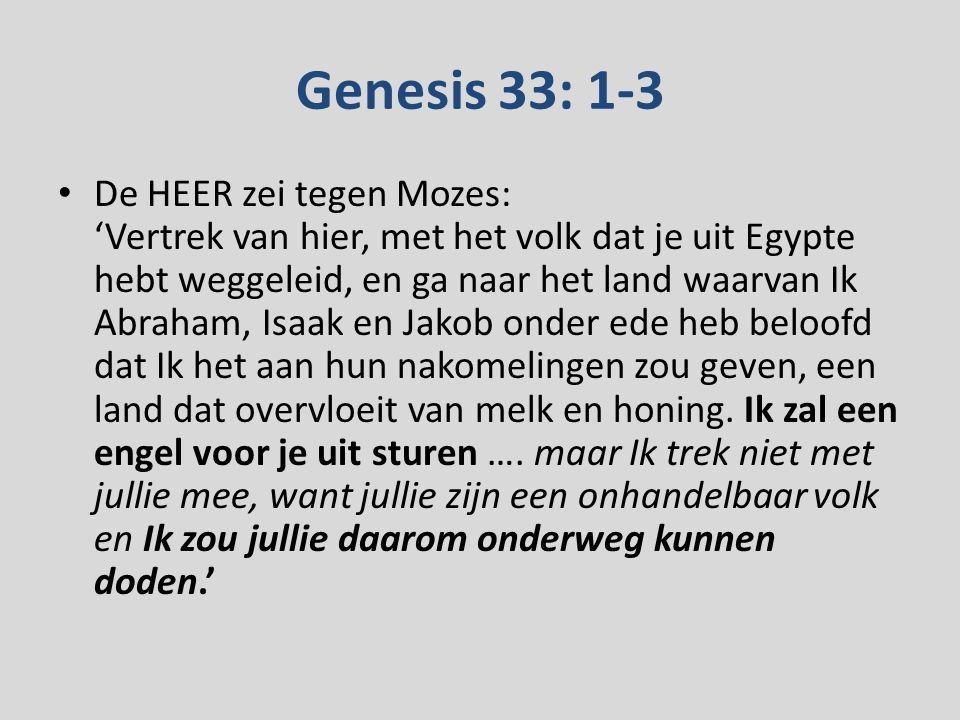Genesis 33: 1-3 De HEER zei tegen Mozes: 'Vertrek van hier, met het volk dat je uit Egypte hebt weggeleid, en ga naar het land waarvan Ik Abraham, Isaak en Jakob onder ede heb beloofd dat Ik het aan hun nakomelingen zou geven, een land dat overvloeit van melk en honing.