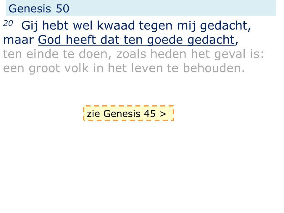 Genesis 50 20 Gij hebt wel kwaad tegen mij gedacht, maar God heeft dat ten goede gedacht, ten einde te doen, zoals heden het geval is: een groot volk in het leven te behouden.