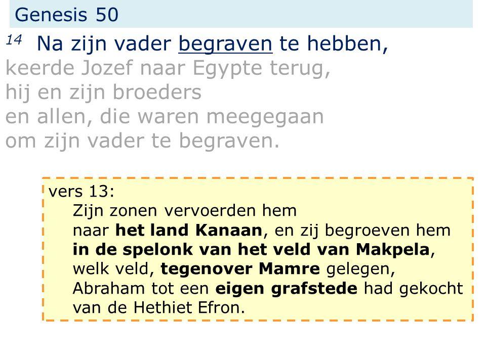Genesis 50 25 En Jozef deed de zonen van Israel zweren: God zal zeker naar u omzien; dan zult gij mijn gebeente van hier meevoeren.