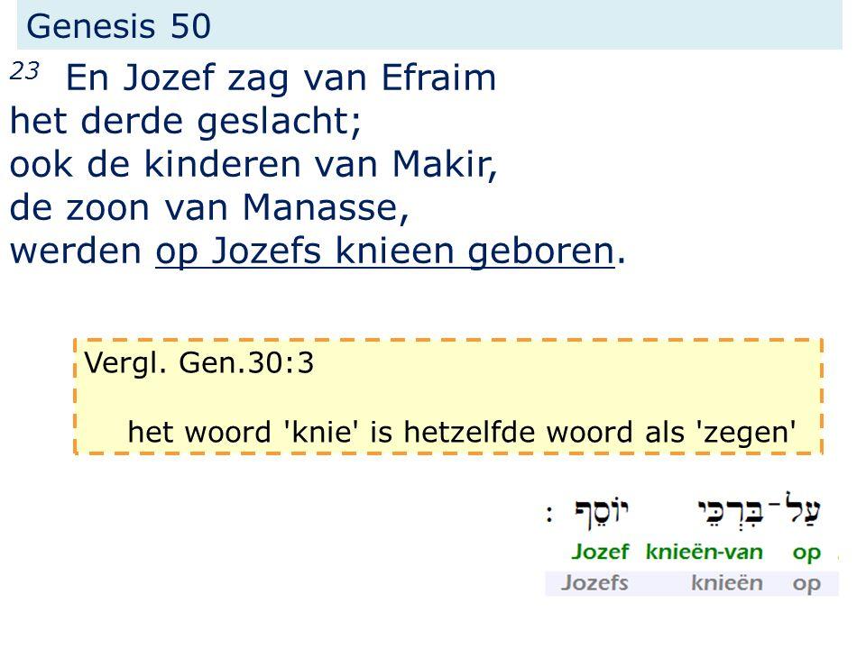 Genesis 50 23 En Jozef zag van Efraim het derde geslacht; ook de kinderen van Makir, de zoon van Manasse, werden op Jozefs knieen geboren.