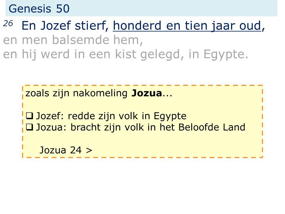 Genesis 50 26 En Jozef stierf, honderd en tien jaar oud, en men balsemde hem, en hij werd in een kist gelegd, in Egypte.