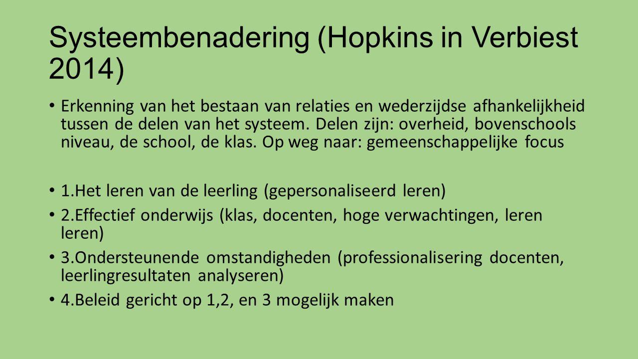 Systeembenadering (Hopkins in Verbiest 2014) Erkenning van het bestaan van relaties en wederzijdse afhankelijkheid tussen de delen van het systeem. De