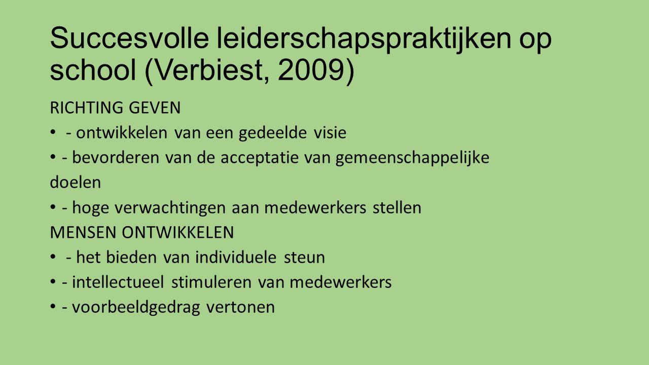 Succesvolle leiderschapspraktijken op school (Verbiest, 2009) RICHTING GEVEN - ontwikkelen van een gedeelde visie - bevorderen van de acceptatie van gemeenschappelijke doelen - hoge verwachtingen aan medewerkers stellen MENSEN ONTWIKKELEN - het bieden van individuele steun - intellectueel stimuleren van medewerkers - voorbeeldgedrag vertonen