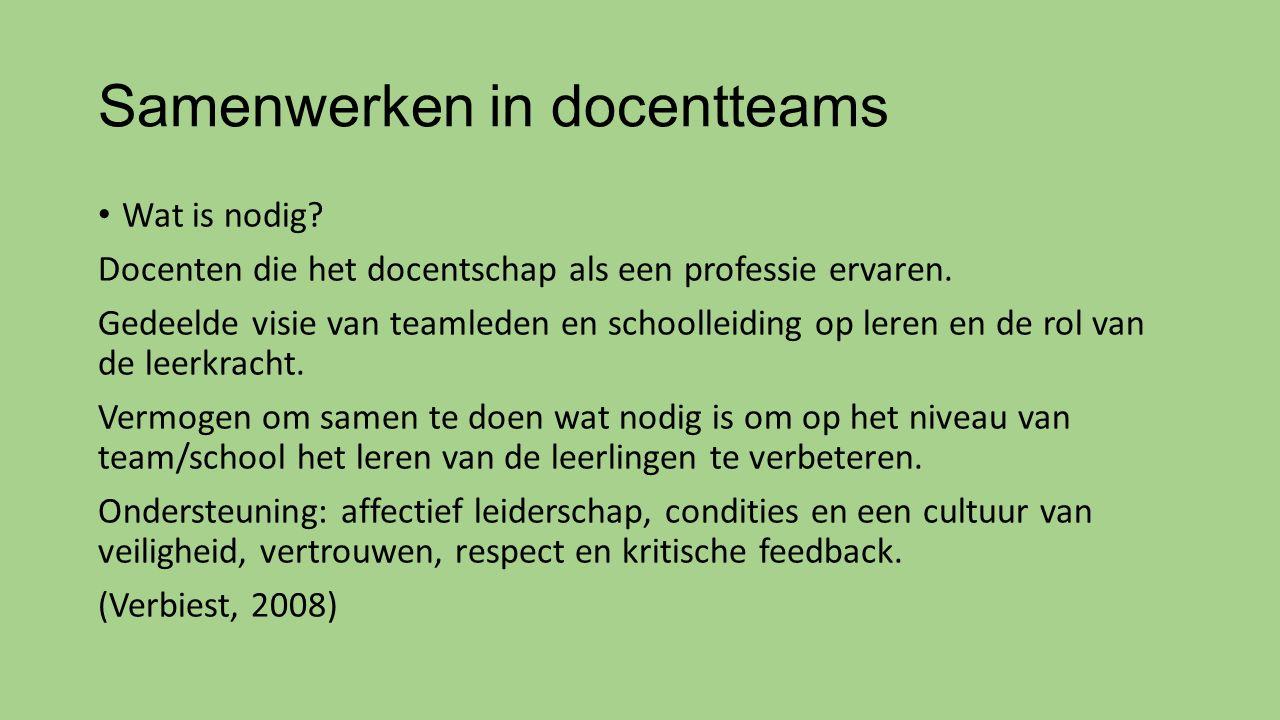 Samenwerken in docentteams Wat is nodig? Docenten die het docentschap als een professie ervaren. Gedeelde visie van teamleden en schoolleiding op lere