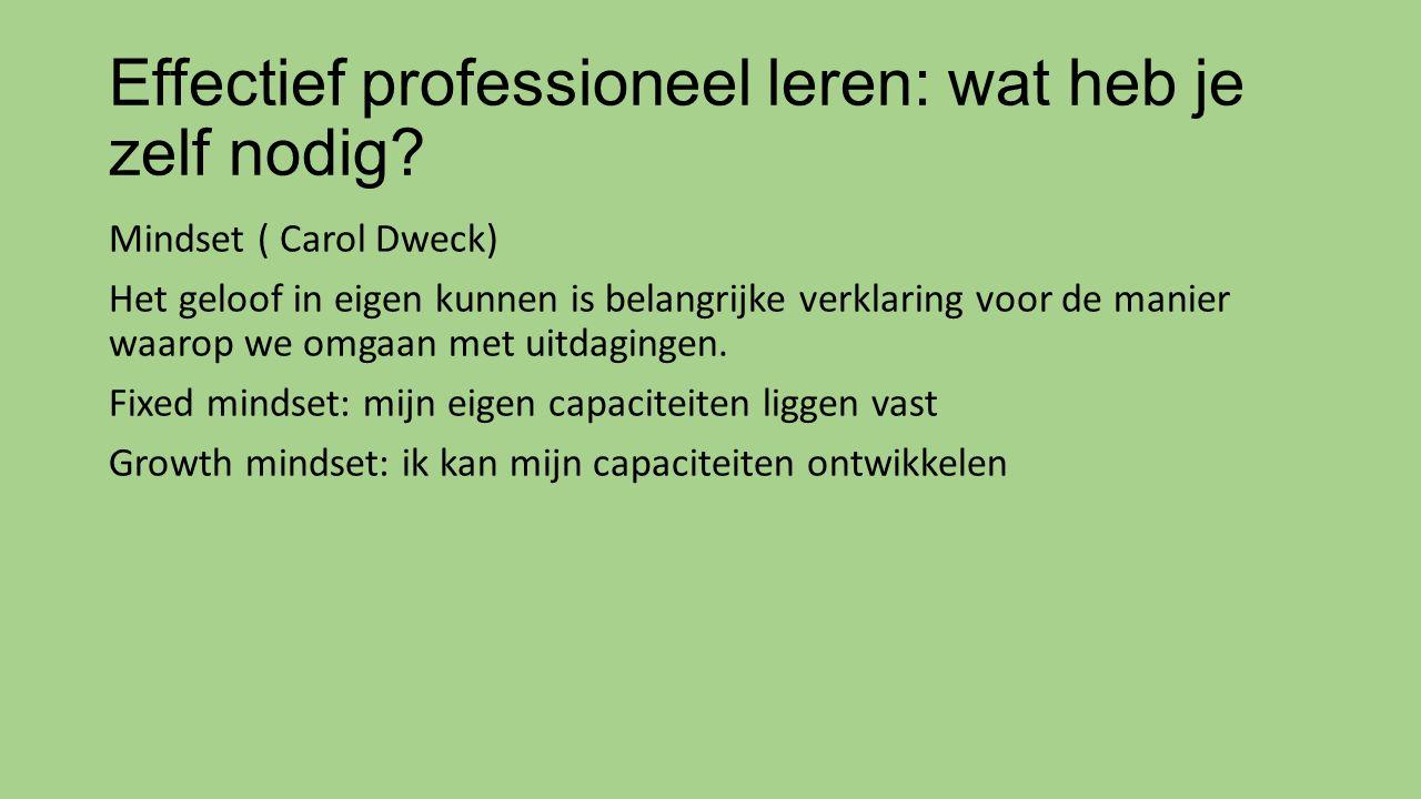 Effectief professioneel leren: wat heb je zelf nodig? Mindset ( Carol Dweck) Het geloof in eigen kunnen is belangrijke verklaring voor de manier waaro