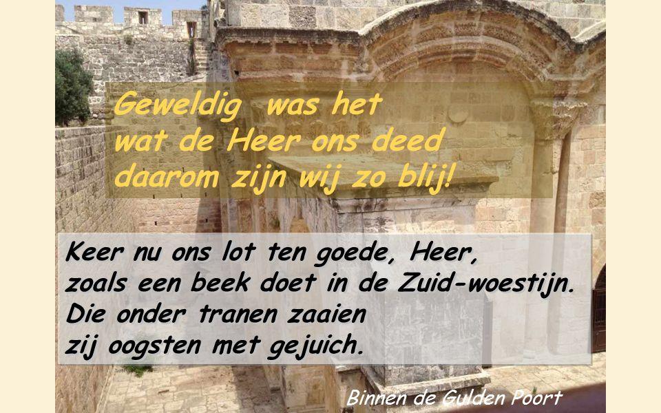 Toen zei men bij de volken: « Geweldig is het wat de Heer hen deed! » Geweldig was het wat de Heer ons deed, daarom zijn wij zo blij! Geweldig was het