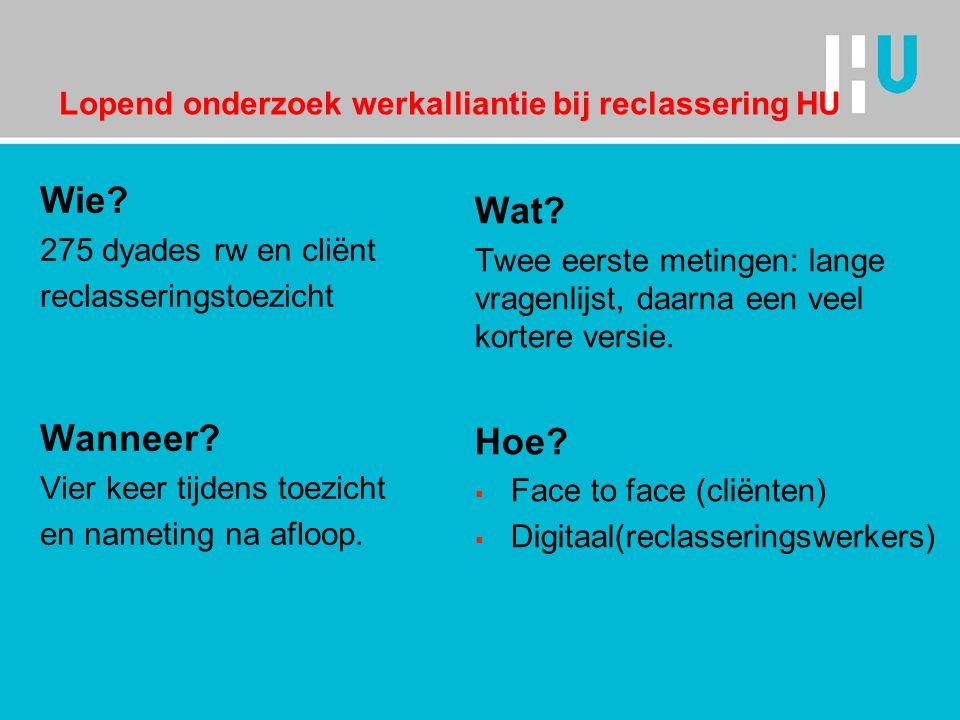 Lopend onderzoek werkalliantie bij reclassering HU Wie.