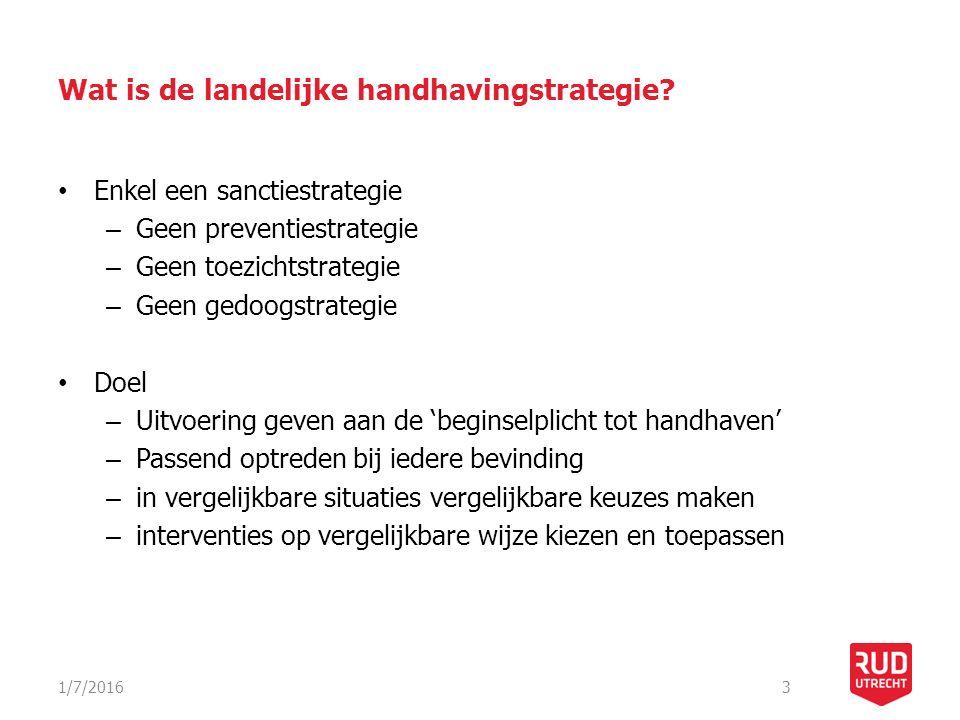 Wat is de landelijke handhavingstrategie? Enkel een sanctiestrategie – Geen preventiestrategie – Geen toezichtstrategie – Geen gedoogstrategie Doel –