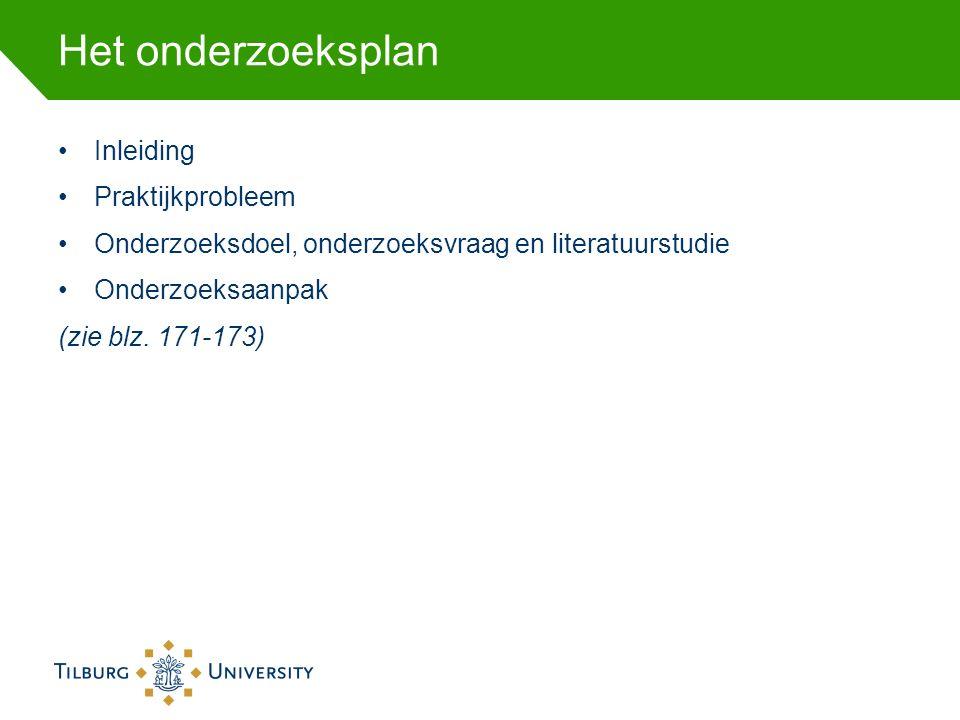 Het onderzoeksplan Inleiding Praktijkprobleem Onderzoeksdoel, onderzoeksvraag en literatuurstudie Onderzoeksaanpak (zie blz. 171-173)