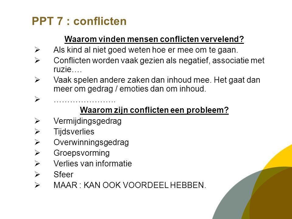 PPT 7 : conflicten Waarom vinden mensen conflicten vervelend.
