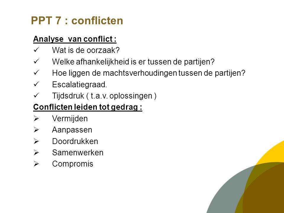 PPT 7 : conflicten Analyse van conflict : Wat is de oorzaak.