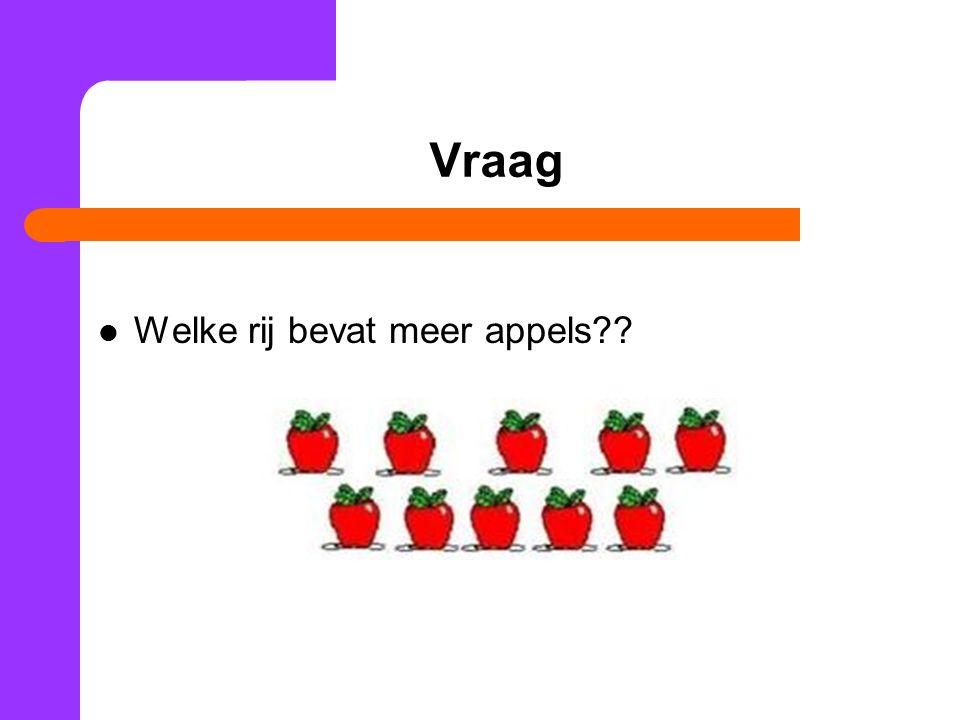 Vraag Welke rij bevat meer appels??
