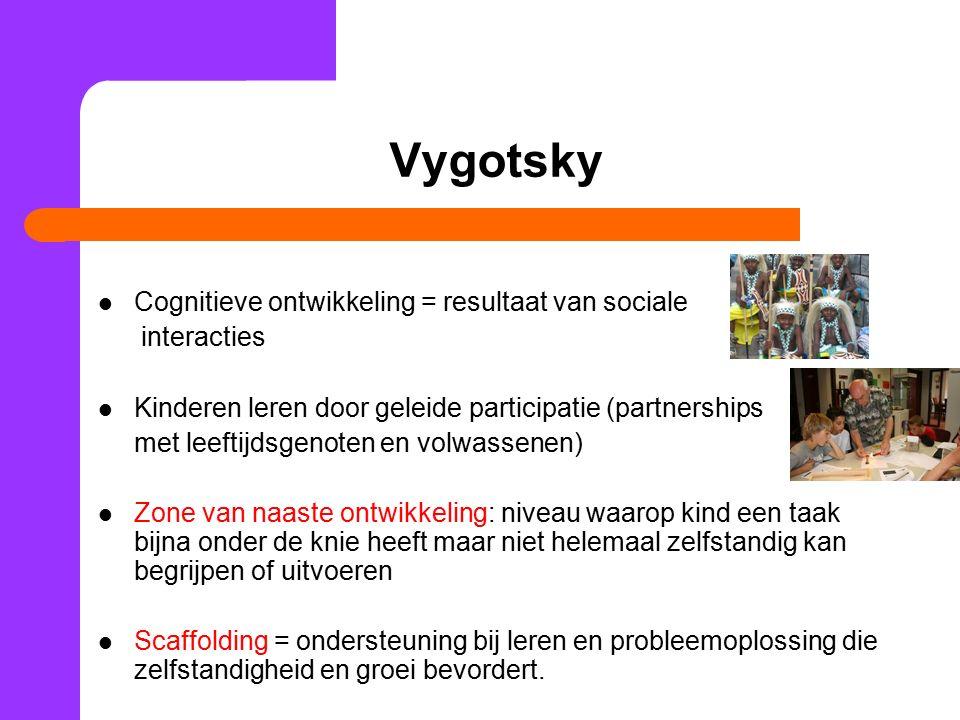 Vygotsky Cognitieve ontwikkeling = resultaat van sociale interacties Kinderen leren door geleide participatie (partnerships met leeftijdsgenoten en vo