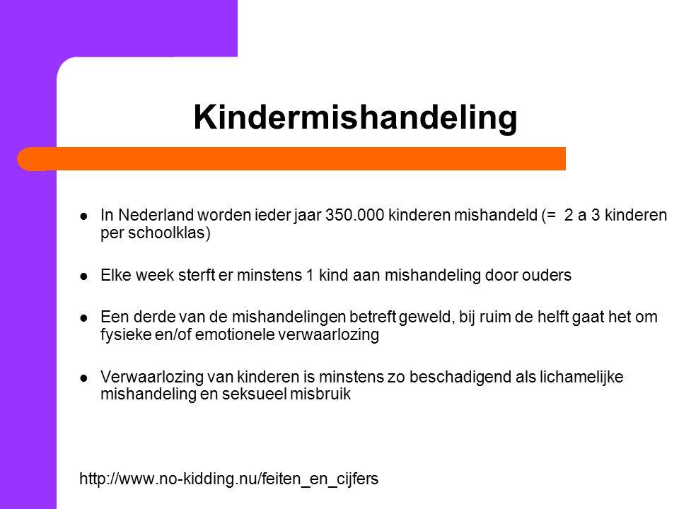 Kindermishandeling In Nederland worden ieder jaar 350.000 kinderen mishandeld (= 2 a 3 kinderen per schoolklas) Elke week sterft er minstens 1 kind aa
