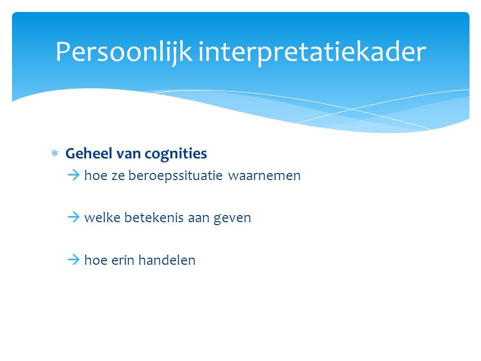  Professioneel zelfverstaan:  Zelfbeeld  Zelfwaarde gevoel  Beroepsmotivatie  Taakopvatting  Toekomstperspectief Interpretatiekader: twee domeinen (1)