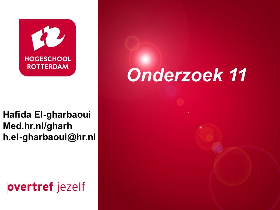 Presentatie titel Rotterdam, 00 januari 2007 Onderzoek 11 Hafida El-gharbaoui Med.hr.nl/gharh h.el-gharbaoui@hr.nl
