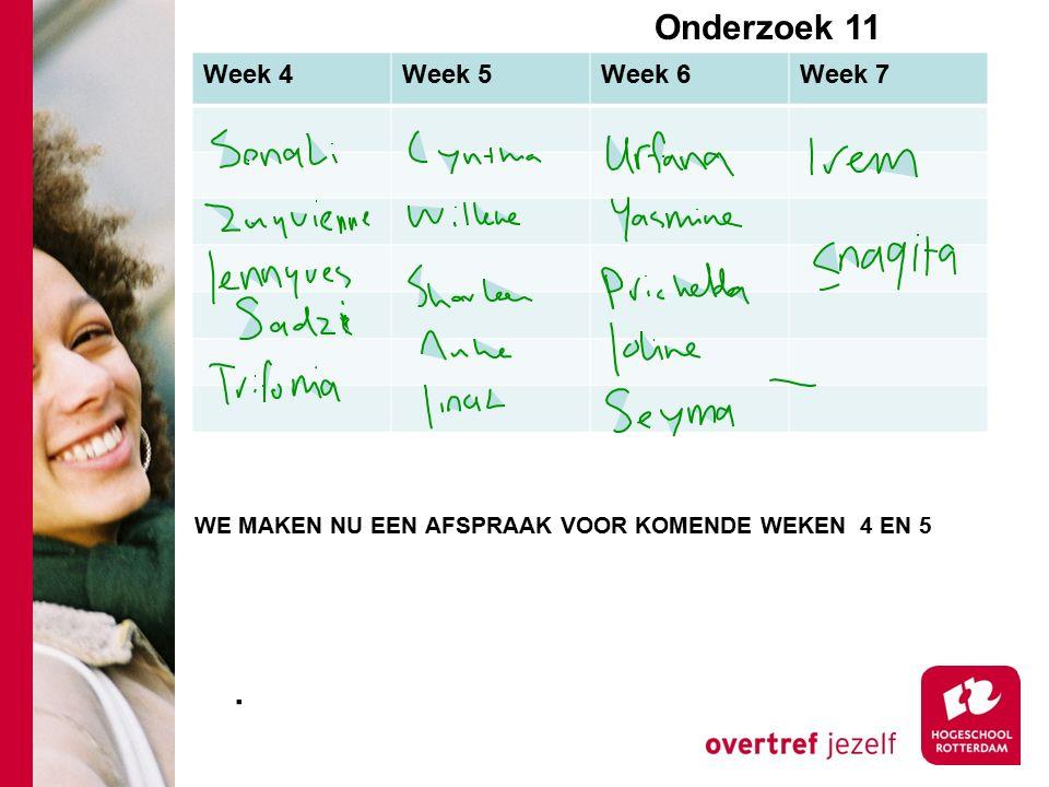 Onderzoek 11e Week 4Week 5Week 6Week 7. WE MAKEN NU EEN AFSPRAAK VOOR KOMENDE WEKEN 4 EN 5