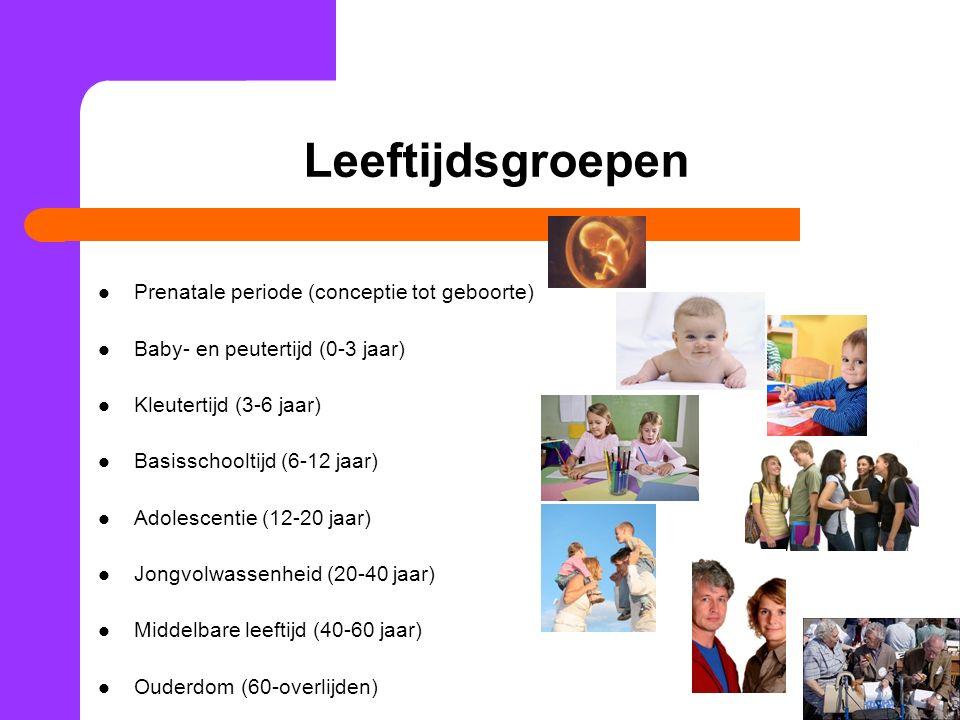 Leeftijdsgroepen Prenatale periode (conceptie tot geboorte) Baby- en peutertijd (0-3 jaar) Kleutertijd (3-6 jaar) Basisschooltijd (6-12 jaar) Adolescentie (12-20 jaar) Jongvolwassenheid (20-40 jaar) Middelbare leeftijd (40-60 jaar) Ouderdom (60-overlijden)