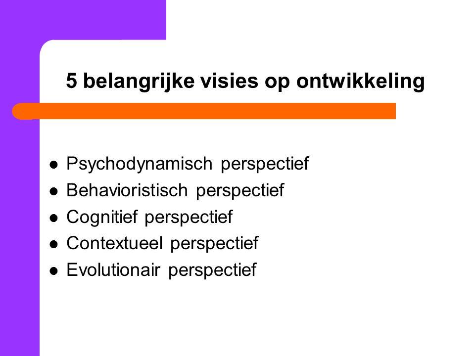 5 belangrijke visies op ontwikkeling Psychodynamisch perspectief Behavioristisch perspectief Cognitief perspectief Contextueel perspectief Evolutionair perspectief