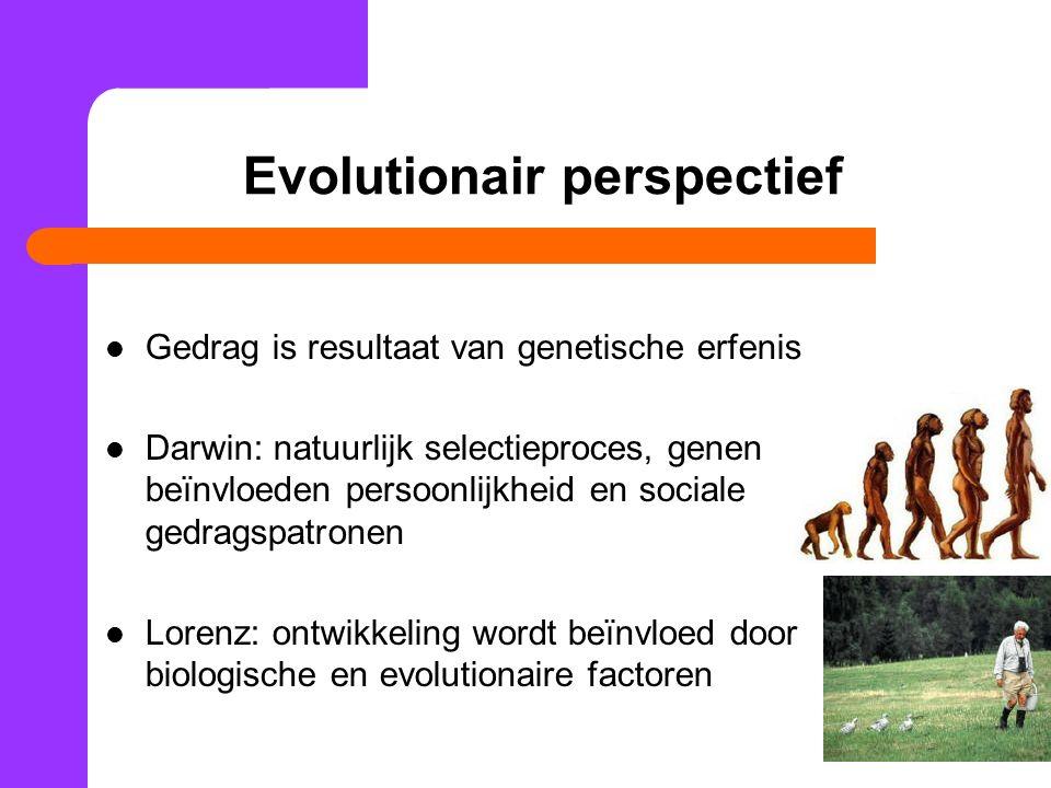 Evolutionair perspectief Gedrag is resultaat van genetische erfenis Darwin: natuurlijk selectieproces, genen beïnvloeden persoonlijkheid en sociale gedragspatronen Lorenz: ontwikkeling wordt beïnvloed door biologische en evolutionaire factoren