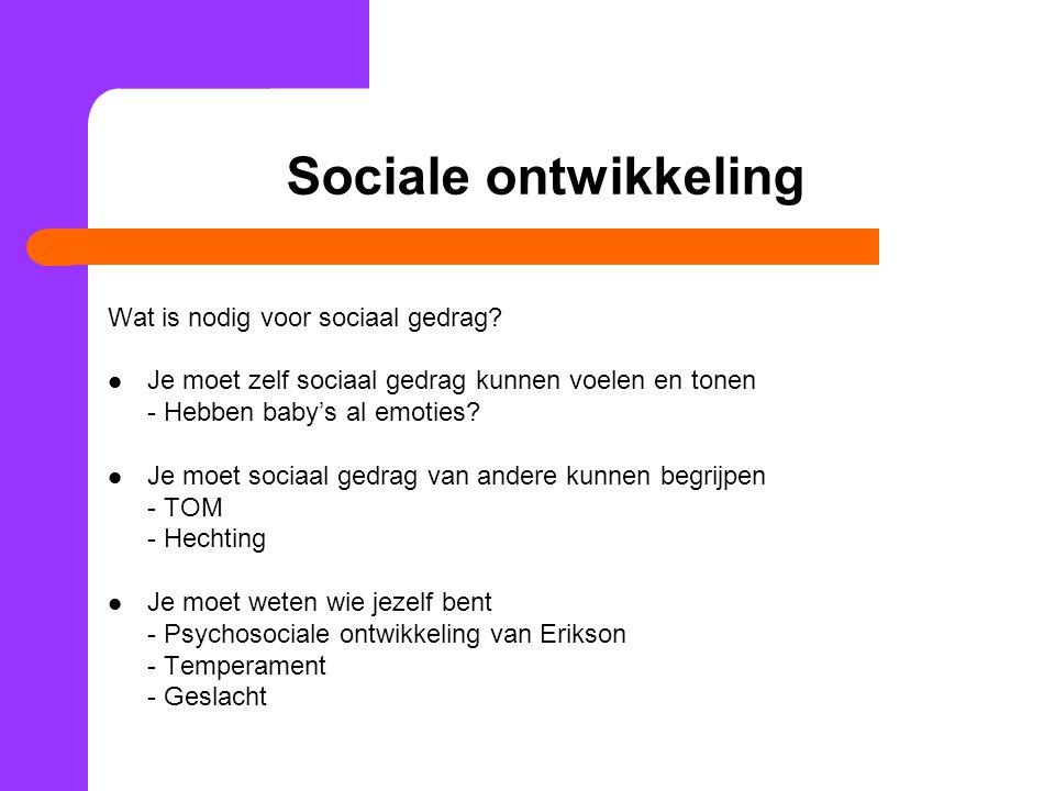 Sociale ontwikkeling Wat is nodig voor sociaal gedrag.