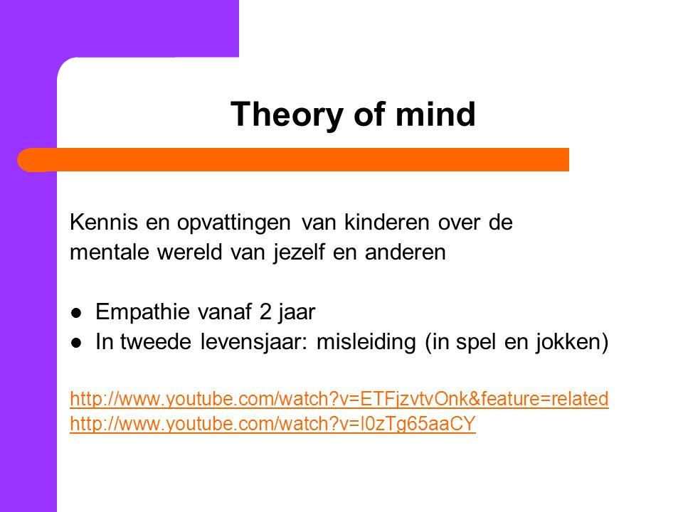 Theory of mind Kennis en opvattingen van kinderen over de mentale wereld van jezelf en anderen Empathie vanaf 2 jaar In tweede levensjaar: misleiding (in spel en jokken) http://www.youtube.com/watch?v=ETFjzvtvOnk&feature=related http://www.youtube.com/watch?v=I0zTg65aaCY